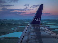 Wild (Quasqua) Tags: 2017 aircraft approach aviation b737600 boeing clouds forest lake landscape sas scandinavian sunset sweden winglet winter suède wing kiruna