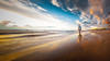 Sneaking Up From Behind - 1444-_MG_6570 (Robert Rath) Tags: sunset beach henleybeach foreshore woman walking clouds golden twilight seascape sand summer holidays jennifer