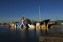 Dazzle Ship (Eastern Davy) Tags: dazzle ship albertdockbasin leith port forthports forth edinburgh scotland canon 70d 24105