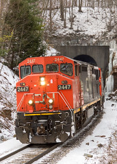 NS 31T @ Tunnel, NY (Mathieu Tremblay) Tags: portcrane newyork unitedstates tunnel railroad railway chemin fer train ns norfolk southern freight line mainline dh delaware hudson belden hill sony a77 sal70300g ge general electric c408m 2447 canadien canadian national cowl