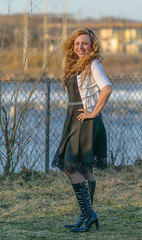 Strike the Pose (tquist24) Tags: hww indiana mishawaka nikon nikond5300 stjosephriver twinbranchdam wanda bokeh boots dress fence geotagged girl goldenhour portrait pretty river smile water woman unitedstates fashion lady