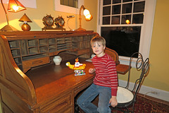 Showing off his Beatles and their Yellow Submarine Lego set he just completed (FAIRFIELDFAMILY) Tags: jason taylor victorian oak ladys desk eastlake ebonized black ebony corner chair roll top yellow submarine beatles barkcloth vintage rug carpet parrot michelle grant carson riverbanks zoo antique flamingo ice cream child boy young lego nature explore outside sc south carolina reflection water winnsboro fairfield county old design style