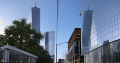 WTC Freedom Tower Twin Reflection Pano 1 (Fadde Photography) Tags: world park nyc reflection tower freedom 1 memorial pano 4 911 center panoramic wtc trade