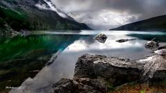 Medicine Lake. Jasper national park (shchukin) Tags: lake canada water landscape rockies alberta jaspernationalpark canadianrockies medicinelake shchukin canonpowershotsx10is