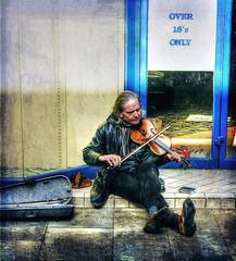 Busking (sidibousaid60) Tags: uk photoshop buxton derbyshire busker streetmusic hdr textured photomatix