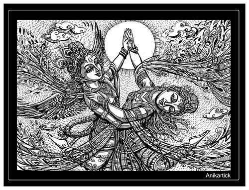 Divine Love Lord Krishna And Goddess Radha Dance Anikartick Art A Photo On Flickriver