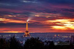 Paris Skyline at Sunset (DavidBleeker Photography) Tags: park city autumn light sunset paris france fall skyline cityscape belleville eiffeltower beam toureiffel fra gustaveeiffel parcdebelleville