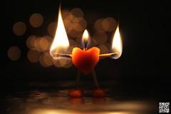 Burn with enthusiasm  #Explore (Alex..H) Tags: allumettes fire feu flamme bokeh coeur heart macro explore matches playdough