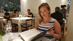 Anette checking the winelist!
