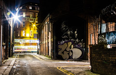 hawk lady ghost bus and barbed wire (PDKImages) Tags: lights longexposure manchesterstreetart manchesterart manchester cityscape artinthecity trails wall lightup bowie urban mural ghosts shadows ancoats ladies love alley alleyway streets