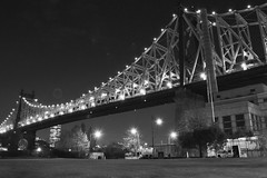 Bridge to ... (Lojones13) Tags: blackandwhite bridge architecture outdoor queensborobridge newyork night rooseveltisland towering