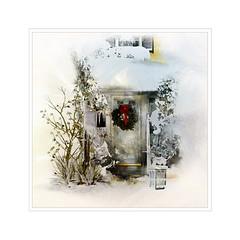 Happy 4:th Advent (BirgittaSjostedt) Tags: winter invite door christmas tree outdoor magicunicornverybest creation birgittasjostedt texture paint fantasy snow scene