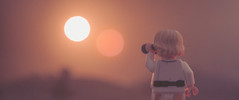 strange observations during the binary sunset (jooka5000) Tags: binarysunset binoculars starwars tatooine toys horizon cinematic toy photographicwork scene anewhope 1977 retro vintage myphotography creative sunset frame hues dual landscape pink purple yellow