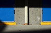 First or Last (James_D_Images) Tags: blue door doors yellow sill white pipe leaf concrete building exit wall sun frontlit shadows lines angles abstract