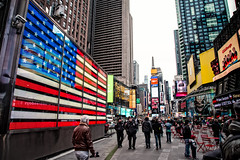 Time Square. (The Sergeant AGS (A city guy)) Tags: newyork timessquare walking flags people perspectve colors city cityscapes urban urbanexploration architecture exploration travelling outdoors