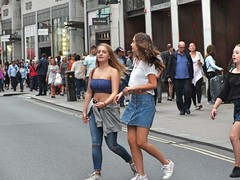 Oxford Street Girls (Waterford_Man) Tags: midriff midrift bare belly summer stomach fit girl street candid people path london road
