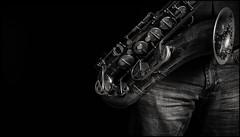 Shadow Play (Garry Corbett) Tags: saxophone jazz jayriley albumcover 123bw musicalinstrument inspiredbymusic shadowplay shadowsandlight jazzmusician blackwhite cgarrycorbett2017 bluejazzbuddha denim