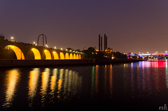 MN Downtown @Golden Hr (Man_K5) Tags: usa monument minnesota night photography downtown nightscape dusk july minneapolis nightscene goldenhour 2015 stonearchbridge famousplaces placestosee tamronspaf1750 pentaxk5