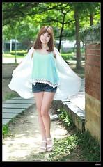 nEO_IMG_DP1U8738 (c0466art) Tags: blue school light portrait girl beautiful female canon eyes asia pretty pants jean outdoor gorgeous taiwan short lovely charming  1dx c0466art