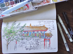 July 1, 2015 (Annie Illustration) Tags: watercolor sketch chinatown drawing journal artjournal urbansketchers