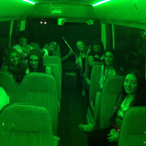 Party lights going green on Party Shuttle bus. Plug in your ipod or iphone and dance to your own music. Party Shuttle on!