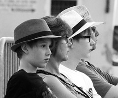 Hats (prueheron) Tags: street blackandwhite photography three concert audience watching hats bnw streetview