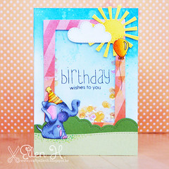 Birthday wishes (Crafty Ellen H) Tags: handmade card shaker marker sequins copic handmadecard diecuts distressink simonsaysstamp lawnfawn