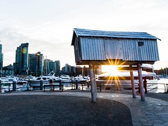 """LightShed"" - Sculpture by Liz Magor (Spencer Finlay) Tags: city sunset art water architecture vancouver downtown cityscape harbour sunburst coalharbour goldenhour vancity lightshed"