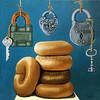 Bagels & Locks (L. Apple Originals) Tags: stilllife foodart bagels vintagelocks whimsicalart imaginativerealism realisticart kitchenart puns whimsy humor