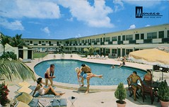 Monaco luxury Resort Motel, Miami Beach, Florida (SwellMap) Tags: postcard vintage retro pc chrome 50s 60s sixties fifties roadside midcentury populuxe atomicage nostalgia americana advertising coldwar suburbia consumer babyboomer kitsch spaceage design style googie architecture