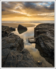 River of Gold, Amroth (mistymornings99) Tags: rays pool beach landscape concept things crepuscular photostyles amroth coast pembrokeshire rocks