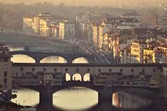 Ponte vecchio (StellaDeLMattino) Tags: ponte vecchio firenze florence old bridge arno river fiume sunset light italy view from piazzale michelangelo city art beauty sun nikon d5000 70300 sigma