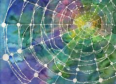 Waiting (I make piccies.) Tags: illustration handdrawn painting 일러스트 일러스트레이션 그림 손그림 내가그린그림 spider web 거미줄 spiderweb