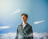 12/365 (Chris Gray Photomedia) Tags: clouds sky aviation plane paperplane portrait selfportrait portraiture conceptual self fineart canon 50mm 365project
