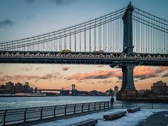 Manhattan Bridge at Sunset (Jérôme Wyss Photography) Tags: 2017 city newyork nyc usa manhattan bridge manhattanbridge cold sunset evening eastriver water construction iconic landmark nikon travel wanderlust jwp2017 clouds sky