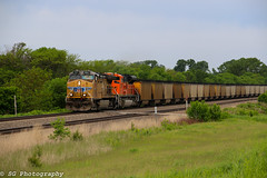 Up 5807 leads a coal load through Nebraska. (sgillam30) Tags: railroad summer sky usa up clouds dark nebraska country union trains cannon coal ge railroading emd railfanning gevo unionpacifc cannon60d cannon70d