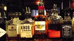 double entendre drinks (byronv2) Tags: bar scotland bottle pub edinburgh drink alcohol whisky rum doubleentendre edimbourg knobcreek goldenrule mountgay polwarth