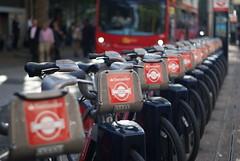 Santander Sponsored Boris Bikes (hobbitbrain) Tags: uk red england london bicycle mayor cycle terminator santander borisjohnson genisys borisbike