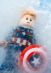 You've been asleep, Cap. For almost 70 years (tomtommilton) Tags: chris cold macro ice america comics stars frozen evans lego stripes freezing cap captain minifig minifigs marvel supermacro avengers minifigure minifigures