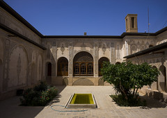 Courtyard Of Tabatabei Historical House, Isfahan Province, Kashan, Iran (Eric Lafforgue) Tags: travel houses house building water horizontal architecture outdoors photography persian pond asia day iran middleeast persia nobody nopeople courtyard palace basin historic east iranian sight copyspace oriental orient eastern kashan locations kachan islamicarchitecture elegance destinations basins traveldestinations  prestigious  colourimage  iro isfahanprovince iranianculture   historicalresidence iran150783