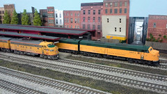 Hillsboro Departures (NAPM Model Railroad Club) Tags: road railroad chicago scale up electric wisconsin club train layout miniature model scenery track power pacific diesel cab union north engine first 7 craft rail railway loco rr hobby class company route prototype american e transportation milwaukee western electro service locomotive motive passenger dual ho division northwestern 187 e7 firstclass overland fp7 uprr milw modelers emd gmd cnw dieselelectric walthers intermountain electromotive cmstpp e7a napm upry nampltd