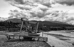 Fish Wheel, Wrangell-St. Elias National Park (punahou77) Tags: blackandwhite nature alaska clouds landscape nationalpark fishing nativeamerican athabascan athabaskan copperriver chitina fishwheel wrangellsteliasnationalpark nikond7100