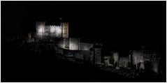 In the dark (James Waghorn) Tags: night sigma1750f28exdcoshsm d7100 topazclarity whitecliffs topazadjust dovercastle cs6 dover kent panorama winter dark mood medieval england spotlight illuminated atmosphere heritage flag