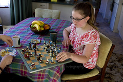 Cousins Playing Chess 2 (C & R Driver-Burgess) Tags: game breakfast morning cup mug tea bowl cereal table kitchen kids girl preteen pink floral top glasses fruit