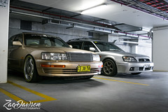 Silver and Gold - Port Macquarie, NSW - Lexus LS400 x Subaru Liberty (Zac Dawson Photography) Tags: silver gold portmacquarie nsw australia lexus ls400 lexusls400 subaru liberty subaruliberty gen3 wagon 20s 20inch rims underground carpark cars chrome junctionproduce vip stance v8 low