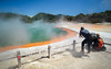 Shooting Champagne Pool (loveexploring) Tags: champagnepool newzealand northisland taupovolcaniczone waiotapu beautyinnature bluesky colourful geothermalarea hotspring landscape photographer steam