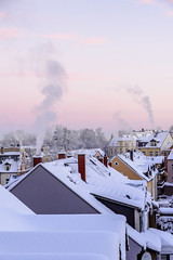 Smoking chimneys (citizen_dick77) Tags: freiberg winter snow lonely snowscape landscape deutschland house tree trees sunset