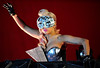 LADY GAGA - AT1 (ya8np1) Tags: 2009 vfestival perform performing live gig ladygaga geometric structured eyemask silvermask mosaic cleavage bust boobs mask blackgloves leather