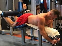 Hamstring work (ddman_70) Tags: shirtless workout gym
