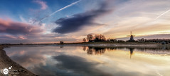 Deventer Riverbanks (Robert Stienstra Photography) Tags: deventer riverbanks landscape landscapes landscapephotography landschappen reflections reflection waterscape waterfront windmill farm clouds skyscape outdoor nikond7100 tokina1224mm pano panorame panoramaphoto cityscape cityscapes cityscapephotography waterscapes reflecting